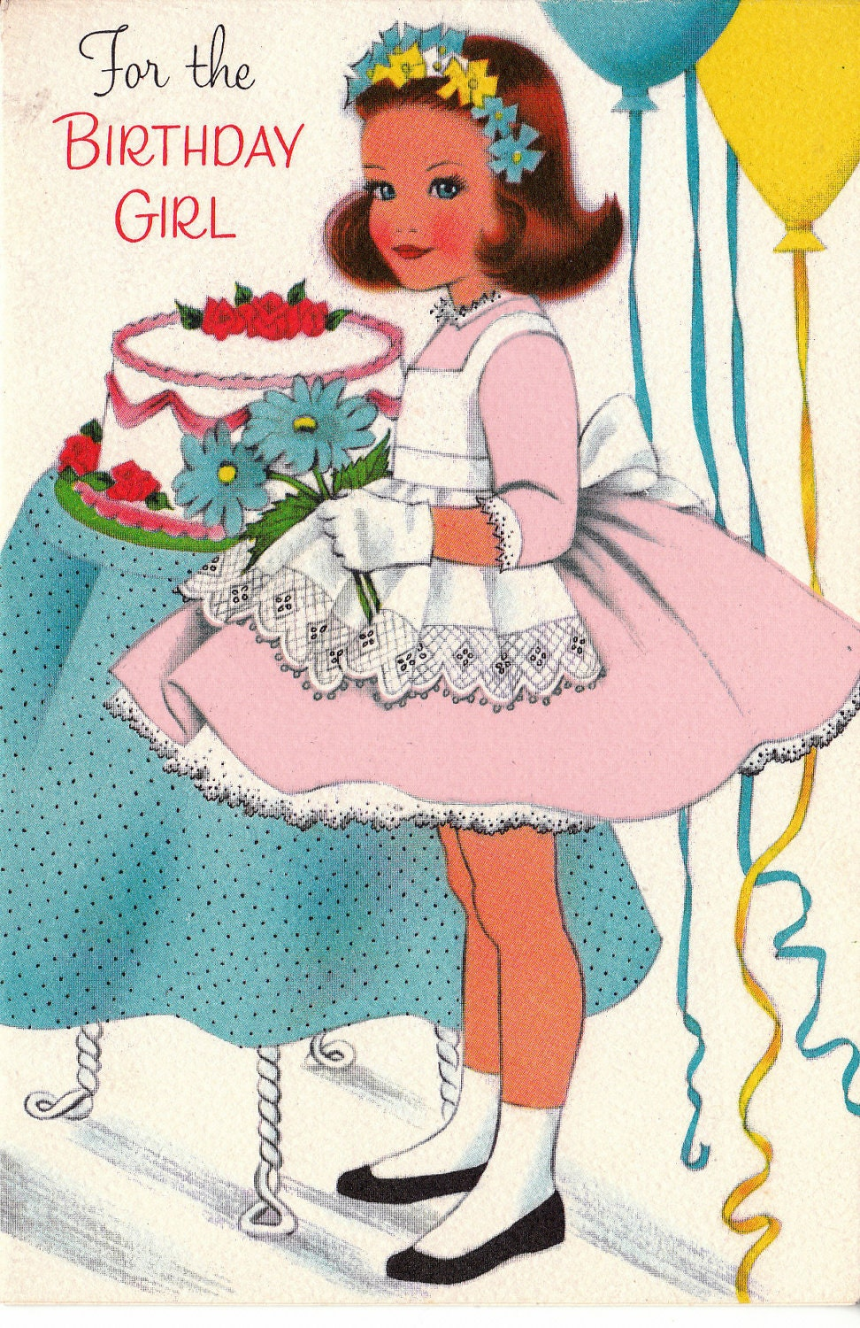 Vintage 1950s For The Birthday Girl Greetings Card B71