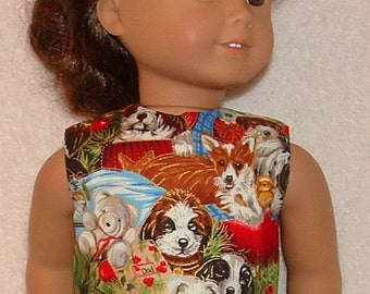 "18"" Doll Clothes Handmade Holiday Dress Puppies for Christmas Will Fit AG"