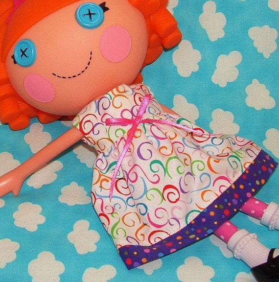 Lalaloopsy Doll Handmade Clothes Color Swirls with Purple Dottie Accents