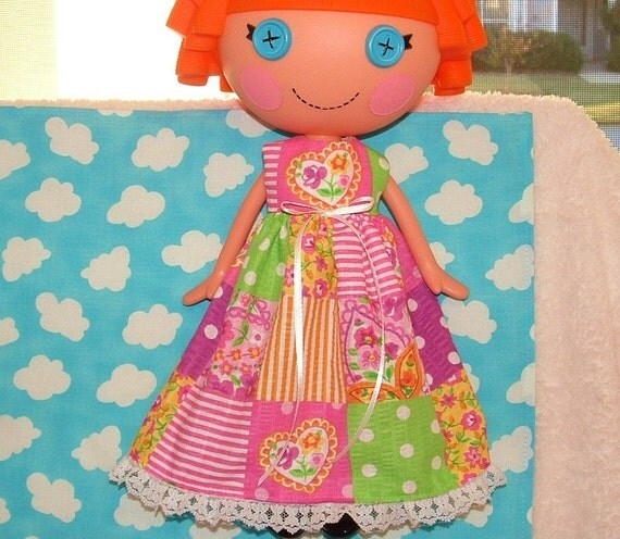 Lalaloopsy Doll Handmade Clothes Dress Long Patchwork Dress Pink Tones
