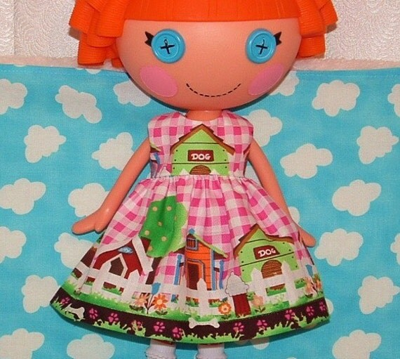 Lalaloopsy Doll Handmade Clothes Dress Dog House Street Medley in Pink