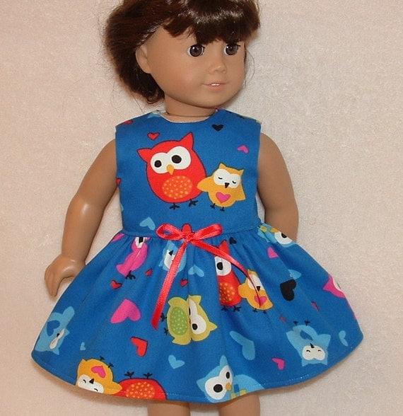 SALE American Girl Doll Dress Owls on Blue