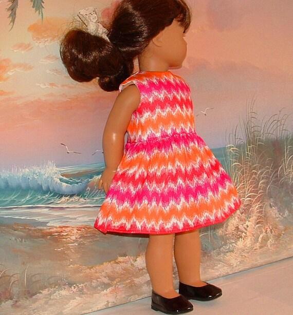 SALE American Girl Doll Dress Colorful Chevron Red Pink White Orange
