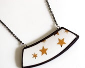 Wide Broken Plate Necklace - Gold Stars - Recycled China