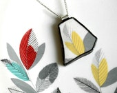 Broken Plate Pendant on Chain - Yellow Gray and White Modern - Recycled China