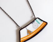 Wide Rim Broken China Jewelry Necklace  - Orange and Blue Modern