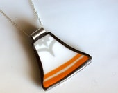 Broken Plate Pendant on Chain - Orange and Grey - Recycled China