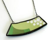 Wide Broken Plate Necklace - Modern Green - Recycled China