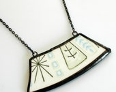 Wide Broken Plate Necklace - Green and Blue Mod Atomic Starburst - Recycled China