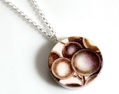 Silver Simple Circle Recycled China Necklace - Purple Grapes
