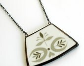 Wide Broken Plate Necklace - Olive Green - Recycled China
