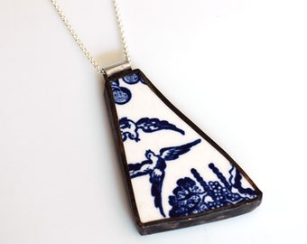 Blue Willow ware birds Horse Broken Plate Pendant on Sterling Chain