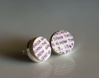 Simple Circle Sterling Silver Broken China Stud Earrings - Purple text