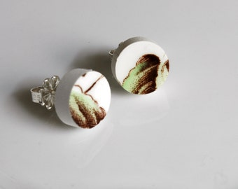 Simple Circle Broken China Stud Earrings - Green and Brown Leaf
