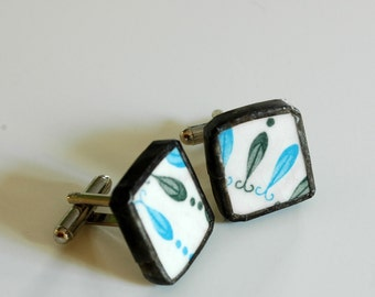 Broken China Cuff Links - Blue and Green Mod