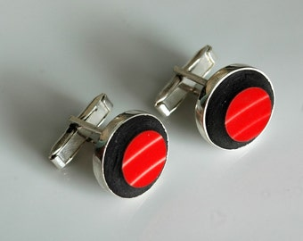 Simple Circle Silver Plated Cuff Links - Scarlett Red