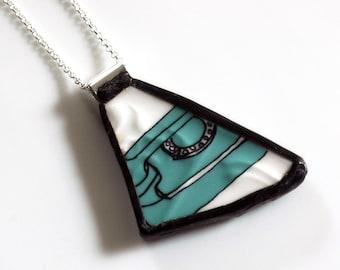 Turquoise Telelphone Broken China Jewelry Pendant