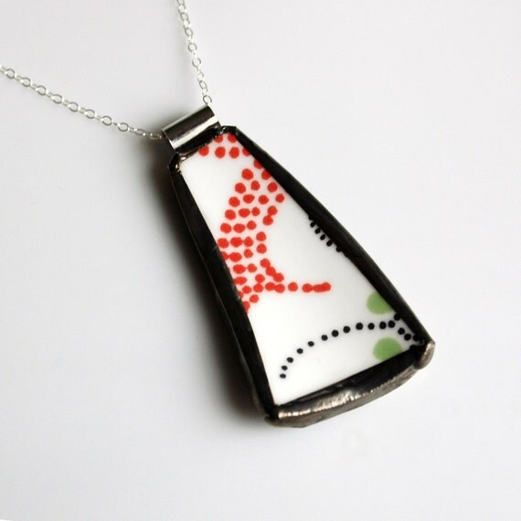 ON SALE Broken Plate Pendant on Sterling Chain - Red and Black Dots - Recycled China