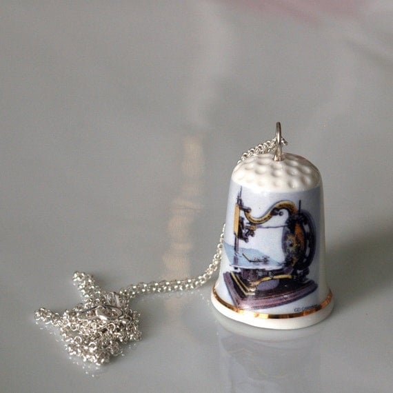 Recycled Porcelain Thimble Necklace - Vintage Sewing Machine