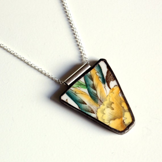 Broken Plate Pendant on Chain - Yellow Black and Green Floral  - Recycled China