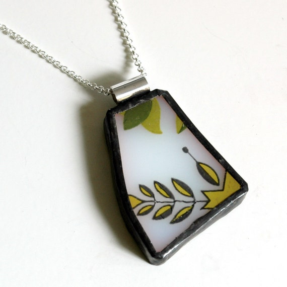 Broken Plate Pendant on Chain - Green and yellow on White Milk Glass - Recycled China