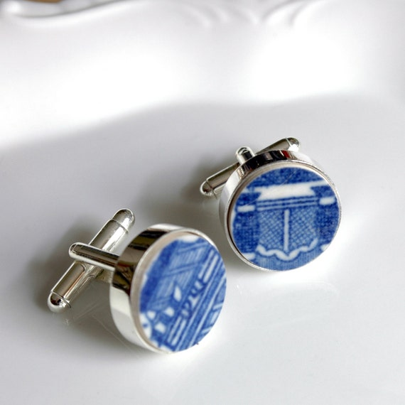 Recycled Plate Silver Plated Cuff Links - Blue and White - Recycled China