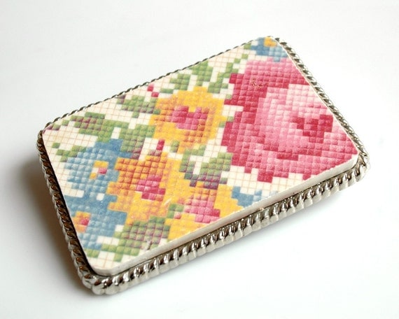 Broken Plate Belt Buckle - Crafty Pink Floral Cross Stitch Pattern - Recycled China