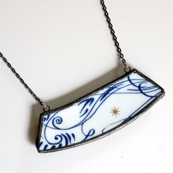Wide Broken Plate Necklace - Blue White and SIlver Star - Recycled China