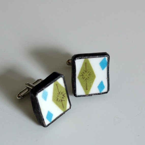 Broken Plate Cuff Links - Blue and Green Diamond  - Recycled China