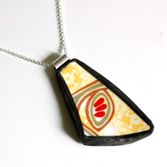 Broken Plate Pendant on Chain - Red and Yellow Modern - Recycled China