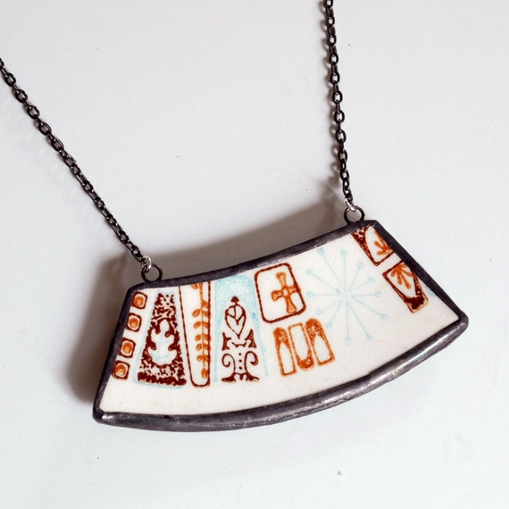 Wide Broken Plate Necklace - Brown and Blue Mod Atomic - Recycled China