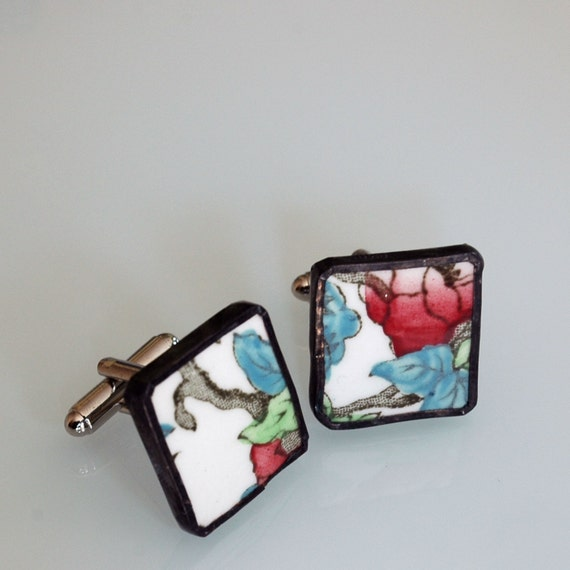 Broken Plate Cuff Links - Red Green and Blue Vintage - Recycled China