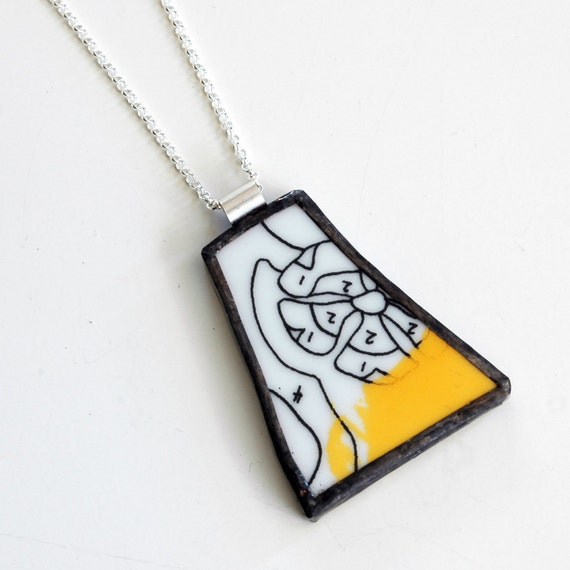 Broken China Jewelry Pendant - Black white and yellow paint by numbers