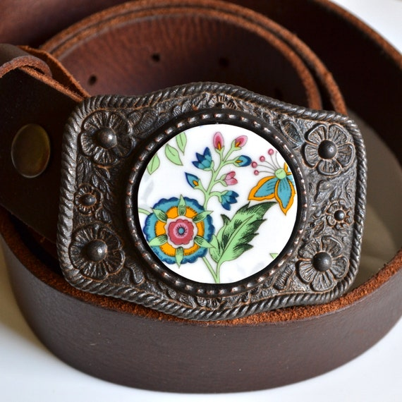 Simple Circle Recycled China Belt Buckle - Modern Floral