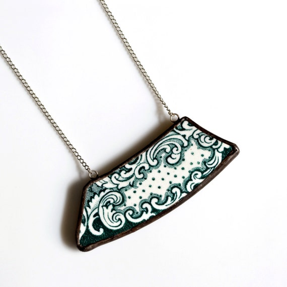 Wide Broken Plate Necklace - Vintage Green and White - Recycled China