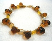 Amber Glass Bead Bracelet, Tortoise Style Bracelet with Amber Yellow Glass Beads, Gold Vermeil Beads, Honey Brown Bracelet