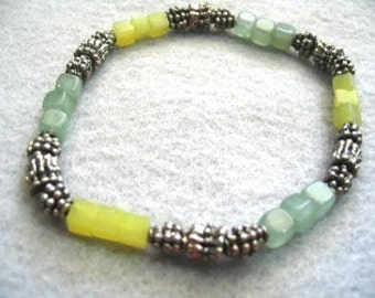 Seafoam Green Beaded Stretch Bracelet, Natural Stone Jewelry, Green Aventurine and Yellow Stone Bead Handmade Bracelet