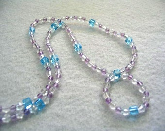 Purple Amethyst and Blue Crystal Necklace, Blue Crystal Cube Beads, Beaded Circle Pendant, Handmade Statement Necklace