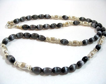 Smokey Black Mystical Glass and Silver Bead Necklace, Gothic Black and Silver Beaded Jewelry, Handmade Beaded Boho Necklace