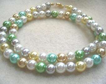 Colorful Pastel Pearl Necklace, Glass Pearl Multi Color Jewelry, Easter, Spring and Summer Jewelry