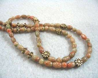 Natural Autumn Jasper Stone Bead Necklace, Fall Colors of Rusty Red, Olive Green, Golden Brown, Earth Tone Jewelry, Gold Flowers, Handmade