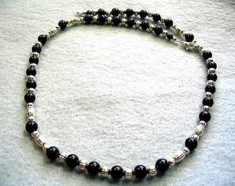 Black Stone Bead Necklace, Black Beaded Jewelry, Single Strand Necklace, Handmade