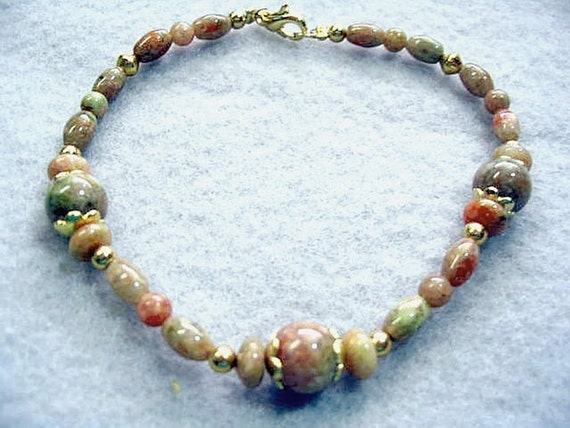 Natural Jasper Stone Bead Bracelet, Gold Filled Clasp, Handmade Autumn Jasper Gemstone Beaded Jewelry