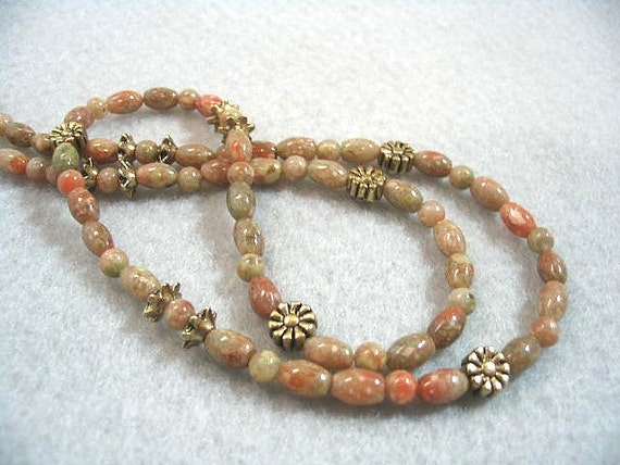 Fall Beaded Necklace, Natural Autumn Jasper Stone Jewelry, Rusty Red, Olive Green, Golden Brown, Earth Tones, Stone Bead Necklace