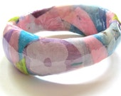 Light Lilac Purple, Pastel Pink Paper Bracelet- white flower, lavender, blue, neon green - chunky decoupaged jewelry, wavy floral bangle