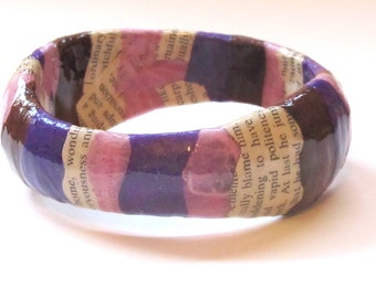 One of a kind, Dark Purple Decoupaged Bangle Bracelet - pink, brown, words - chunky, wavy bangle, paper writer jewelry, first anniversary