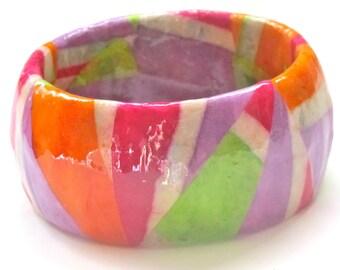 Statement Bracelet - Geometric Color Block Bangle - green, orange, pink, light  purple, lavender, white - unique decoupage paper jewelry