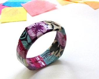 Boho Paper Jewelry - Modern Geometric Bracelet, purple, blue, black and white mixed prints, flower, decoupage bangle, colorful art accessory