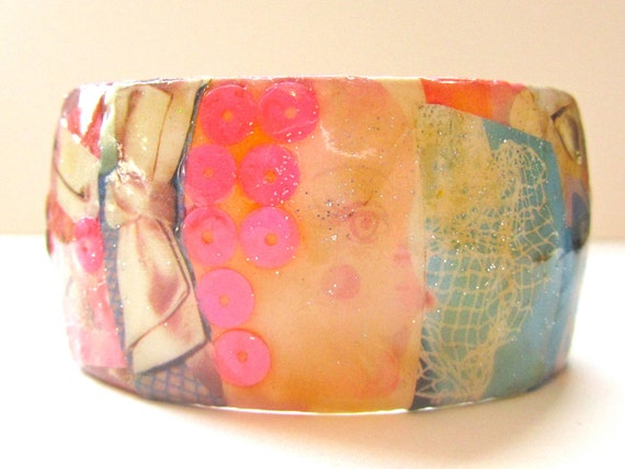 Sale - Decoupaged Collage Bracelet: Beads, Bows and Baubles Bangle - paper jewelry, whimsical pink sequins, girly bows, kawaii pretty things