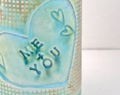 Handmade Mug with Me & You in a Heart - Coffee Cup with dragonflies and hearts ready to ship -  for her - for him